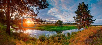 Summer panorama with river
