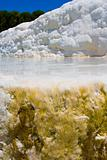 Pamukkale. Turkey. Cotton white mountains. National reserve and tourist attractions. Hot Springs