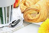 Fresh croissant & more on breakfast table