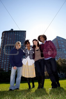 Four People in Urban Park