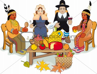 Thanksgiving Pilgrims and Indian Couple