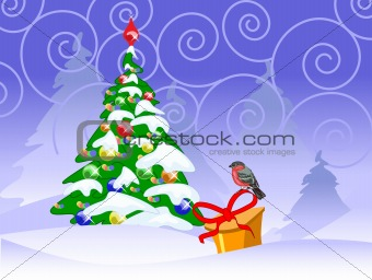 christmas card with a bullfinch, fir tree and present