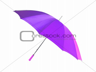 bright violet umbrella isolated on the white background