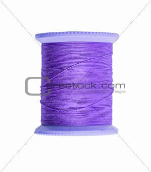 Bright violet thread isolated on white