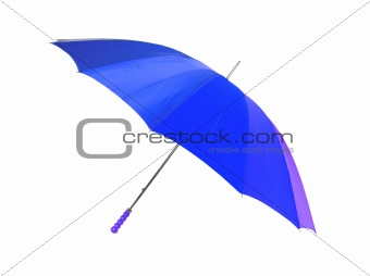 bright blue umbrella isolated on the white background