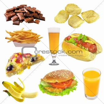 Set of fast food isolated on white