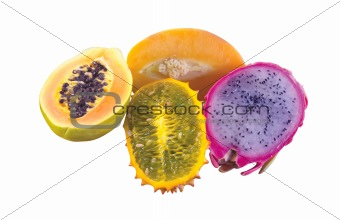 Exotic and tropical different fruits isolated on white
