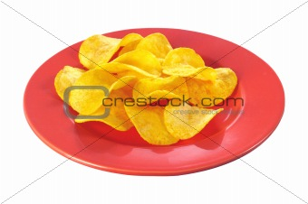 potato chips on plate isolated on white background