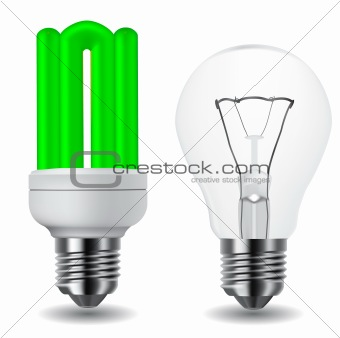 energy saving green light bulb and classic light bulb