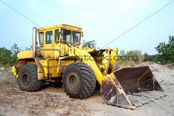 Old wheel loader bulldoze