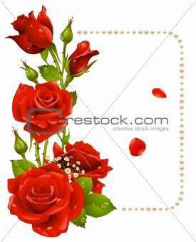 Vector red rose and pearls frame. Design element.