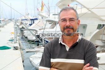 Senior man on  boat