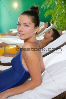 beautiful girl relaxing at spa