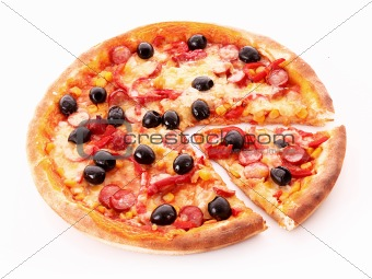 sliced pizza with olives isolated on white