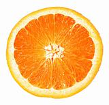 Orange closeup isolated on a white background