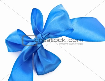 Blue textile ribbon isolated on white