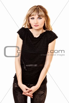 Modest young woman isolated on white