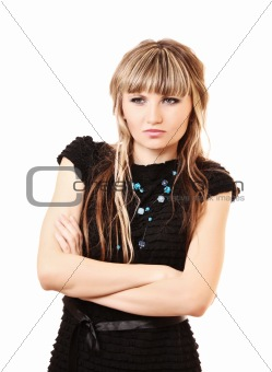 Modest unhappy young woman isolated on white