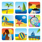 Holiday, Summer and Sea Icons