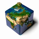 Cubic Earth with translucent ocean and shadow