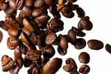 Falling coffee beans on white background