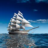 Sailing ship at sea