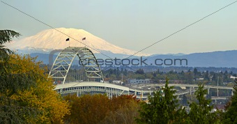 Fremont Bridge Portland Oregon Panorama