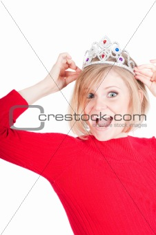 Portrait of beautiful woman with crown