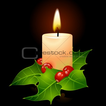 Vector Christmas candle and holly