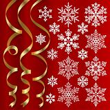 Christmas set of ribbons and snowflakes