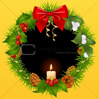 Christmas wreath in the shape of heart