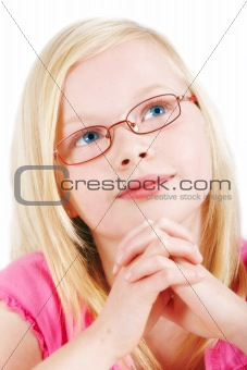 Beautiful blond girl with eyeglasses