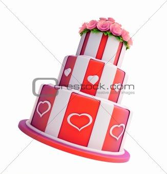 three-story cake