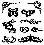Set ornament elements In flower style. Vector