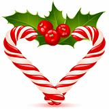 Christmas heart: candy canes and holly