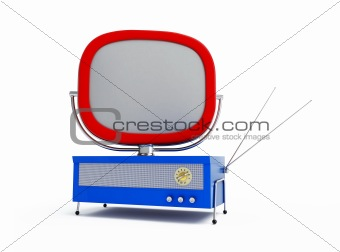 old tv on a white background