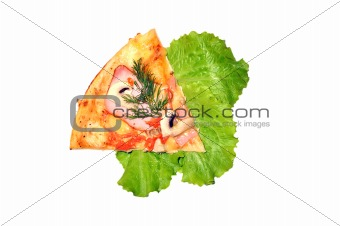 slice of pizza isolate on white
