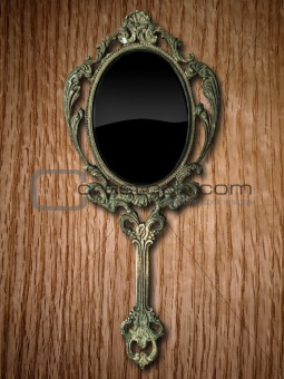 hand mirror on Red Oak