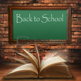 back to school blackboard on brick wall