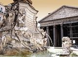 Pantheon with Fountain in Rome
