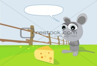A toon mouse going for a piece of cheese.