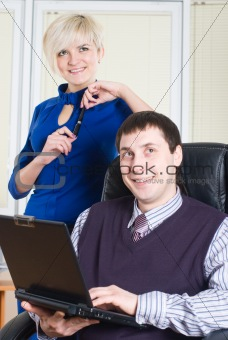 Business team with laptop