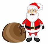 cute happy looking santa claus standing with sack
