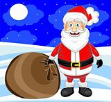 cute happy looking santa claus with snow background