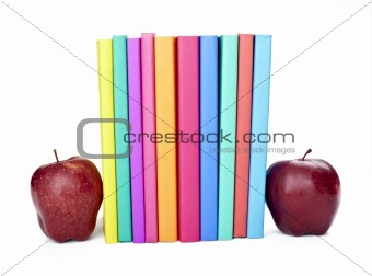 colorful books apple fruit food education school
