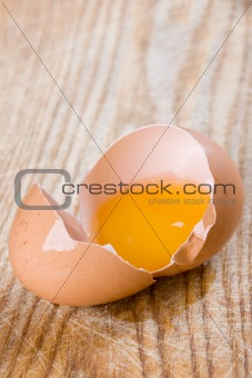 broken brown egg