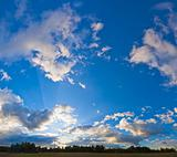 Evening blue sky panorama