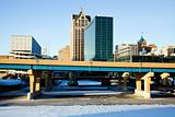 Downtown Milwaukee above frozen river