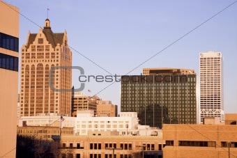 Afternoon lights on Milwaukee buildings.