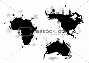 Africa, north America and Australia